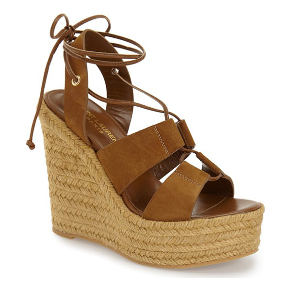 SAINT LAURENT woven espadrille wedge sandal - Braided espadrille trim wraps the bold wedge and platform...