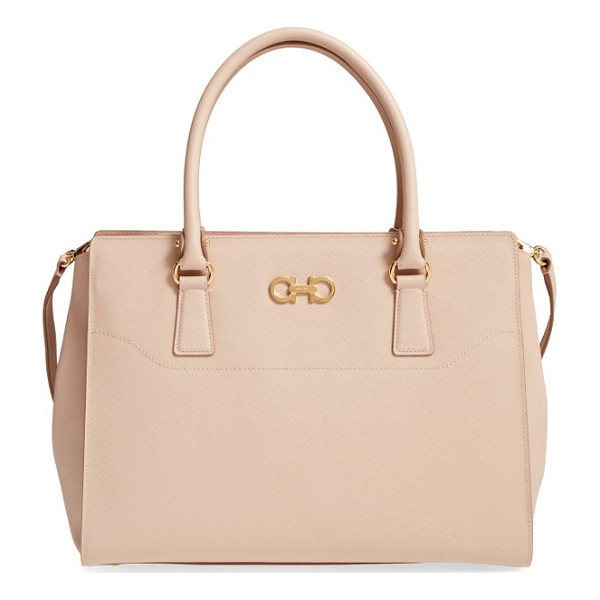 SALVATORE FERRAGAMO beky saffiano leather tote - Polished Gancio hardware gleams on a smart, clean-lined