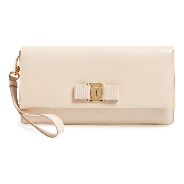 SALVATORE FERRAGAMO Camy clutch - A grosgrain bow and logo-etched goldtone hardware...
