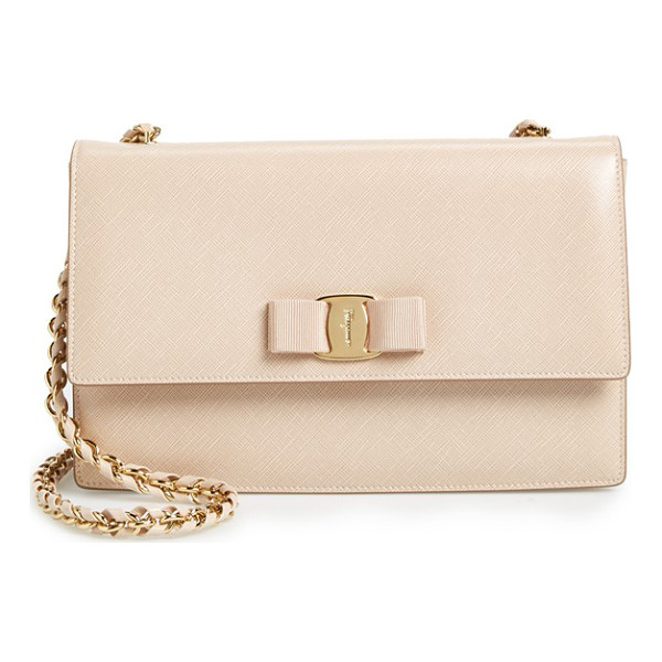 SALVATORE FERRAGAMO saffiano leather shoulder bag - Gancio lock hardware and a signature grosgrain bow...