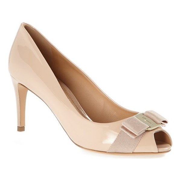 SALVATORE FERRAGAMO pola bow pump - A layered grosgrain bow and polished logo hardware accent...
