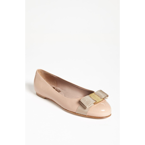 SALVATORE FERRAGAMO 'varina' leather flat - A modern ballerina flat features a signature grosgrain bow...