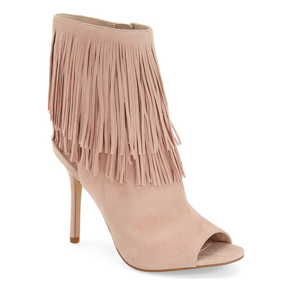SAM EDELMAN 'arizona' fringe open toe bootie - An airy, open counter furthers the bohemian vibe of a chic...