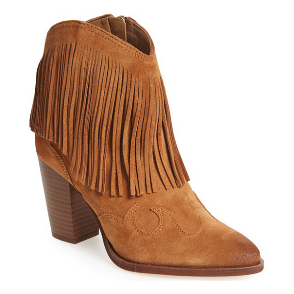 SAM EDELMAN 'benjie' western bootie - Dramatic fringe and curved appliques at the heel and toe...