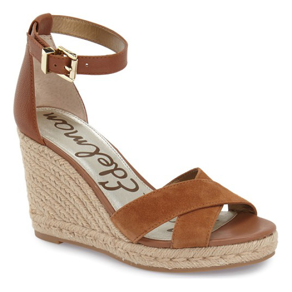SAM EDELMAN brenda espadrille wedge sandal - Crossover straps at the vamp detail a versatile ankle-strap...