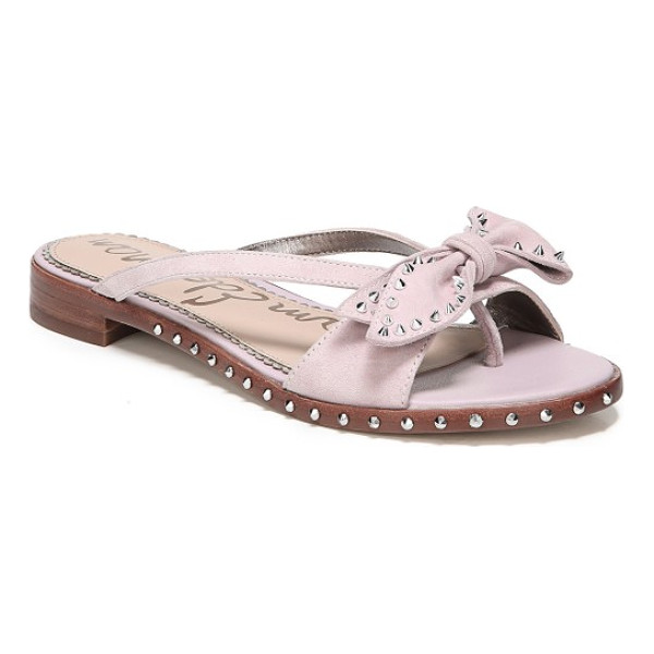 SAM EDELMAN dariel bow sandal - Silver studs add subtle edge to a bow-topped sandal with a...