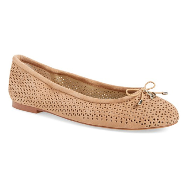 SAM EDELMAN 'felicia' perforated flat - A delicate logo charm adorns the bow-trimmed toe of a...