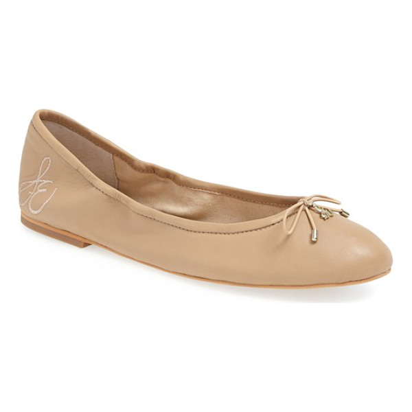 SAM EDELMAN 'felicia' flat - A delicate logo charm adorns the bow-trimmed toe of a