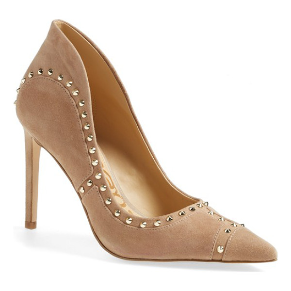 SAM EDELMAN hayden pointy toe pump - Gleaming goldtone spikes and artistic piecing distinguish a...