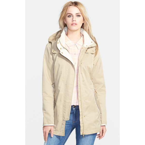 SAM EDELMAN hooded cotton blend jacket - Textured contrast lines the stand collar and trims the...