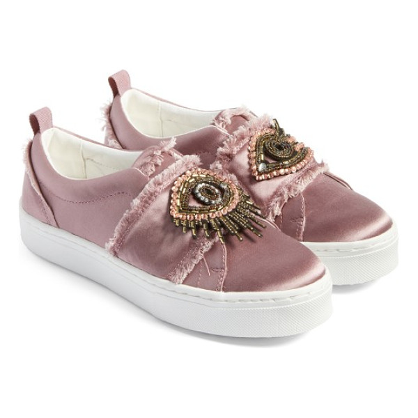 SAM EDELMAN levine sneaker - Intricate beading adds a flash of vintage glamour to satin...