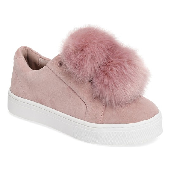SAM EDELMAN 'leya' faux fur laceless sneaker - Twin pompoms of soft faux fur adorn the tongue of this...