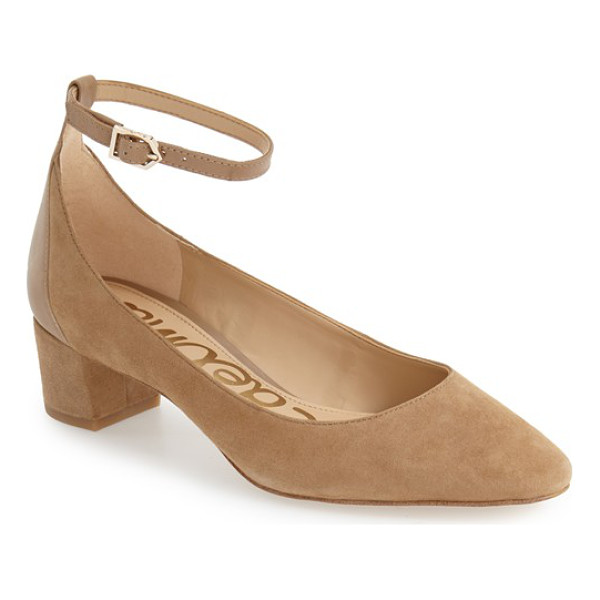 SAM EDELMAN lola ankle strap pump - A smooth leather ankle strap and heel panel subtly contrast...