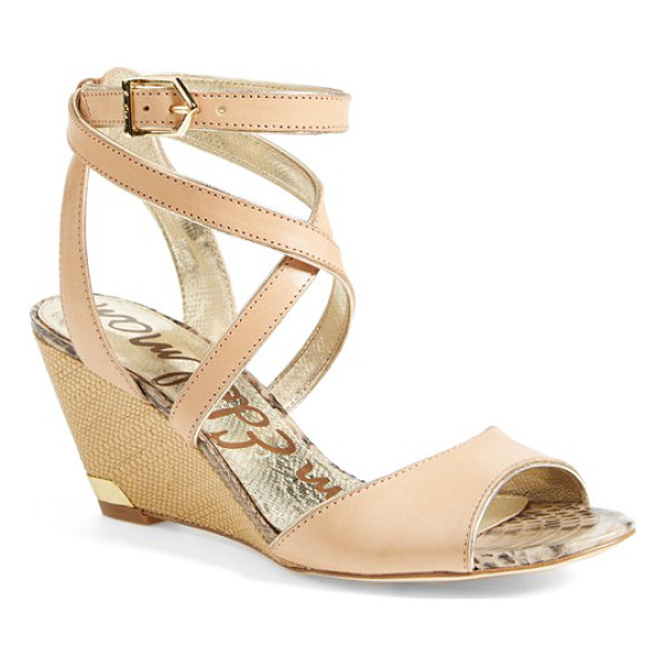 SAM EDELMAN samara wedge sandal - Wraparound straps further the sunny-day appeal of a modern...