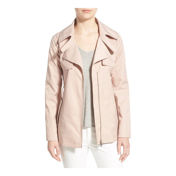SAM EDELMAN short zip front trench coat - Classic trench styling takes on a fresh look in a shorter,...