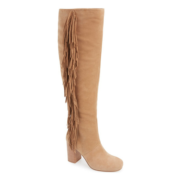 SAM EDELMAN taylan over the knee fringe boot - A stacked heel and dramatic fringe trim heighten the...