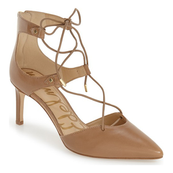 SAM EDELMAN 'taylor' ghillie pointy toe pump - Slender ghillie-inspired lacing trellises from instep to...