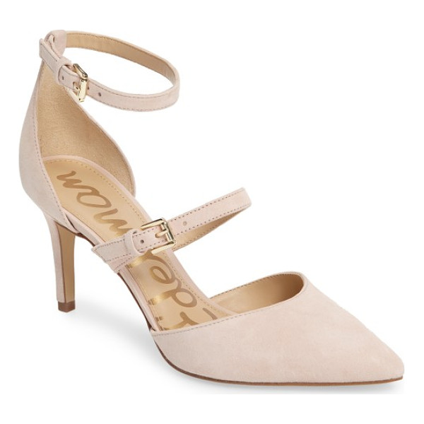 SAM EDELMAN 'thea' strappy pump - Simple and chic, this pointy-toe pump in lush suede gets a...