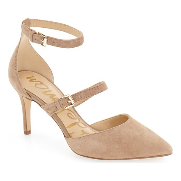 SAM EDELMAN 'thea' strappy pump - Simple and chic, this pointy-toe pump in lush suede gets a