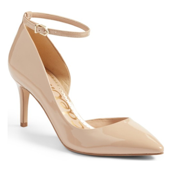 SAM EDELMAN tia ankle strap pump - A slim tapered heel and a half d'Orsay topline heighten the...