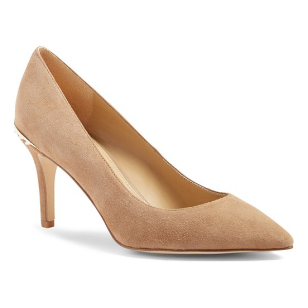 SAM EDELMAN tonia spike rand pointy toe pump - A rand of enameled spikes along the heel adds just a hint...