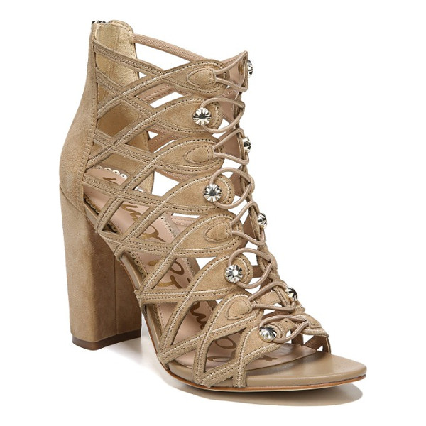 SAM EDELMAN yeager bootie cage sandal - Diamond cutouts, scalloped edging and gleaming faceted...