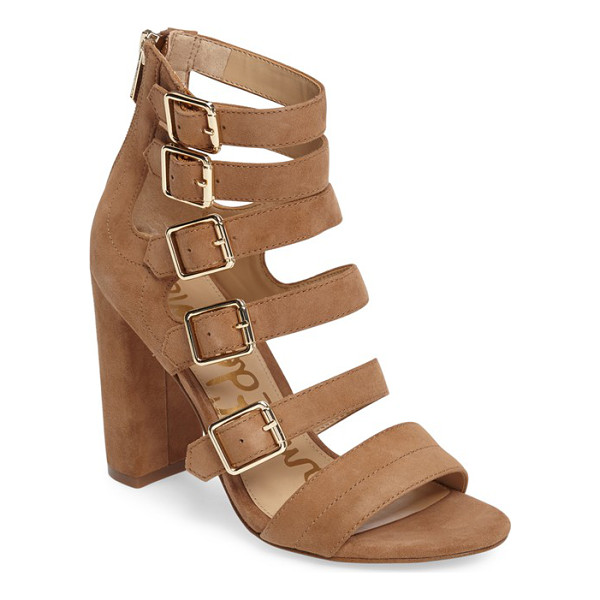 SAM EDELMAN yasmina buckle strap gladiator sandal - Bold suede straps ladder from the toe to above the ankle on