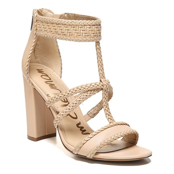 SAM EDELMAN yordana woven t-strap sandal - A braided T-strap and a woven ankle cuff relax a beautiful...
