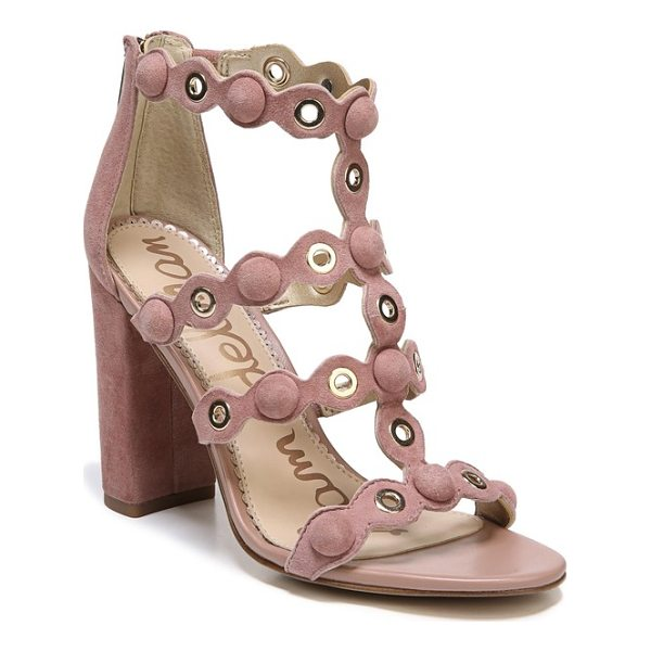 SAM EDELMAN yuli grommet sandal - Gleaming grommets and covered buttons punctuate the curvy,...