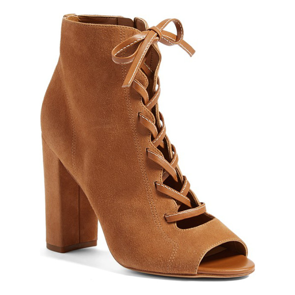 SAM EDELMAN yvie bootie - A lofty column heel amplifies the modern sophistication of...