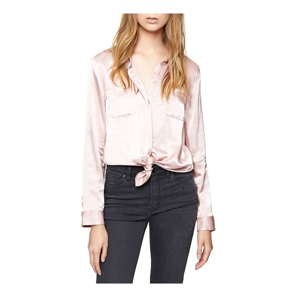 SANCTUARY dreamer tie front shirt - Satiny shimmer elevates a staple button-down designed with...