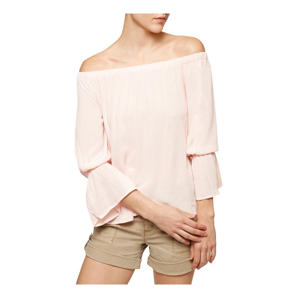SANCTUARY off the shoulder blouse - Gauzy fabric, a shoulder-flaunting neckline and flouncy...