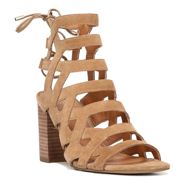 SARTO BY FRANCO SARTO connie block heel cage sandal - Bold leather straps ladder dramatically up the front of a...