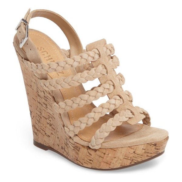 SCHUTZ abigally wedge sandal - Braided suede straps stack up on a boho-chic sandal lifted...