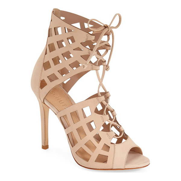 SCHUTZ blake cutout sandal - Latticed cutouts and corset-inspired laces style a sky-high...