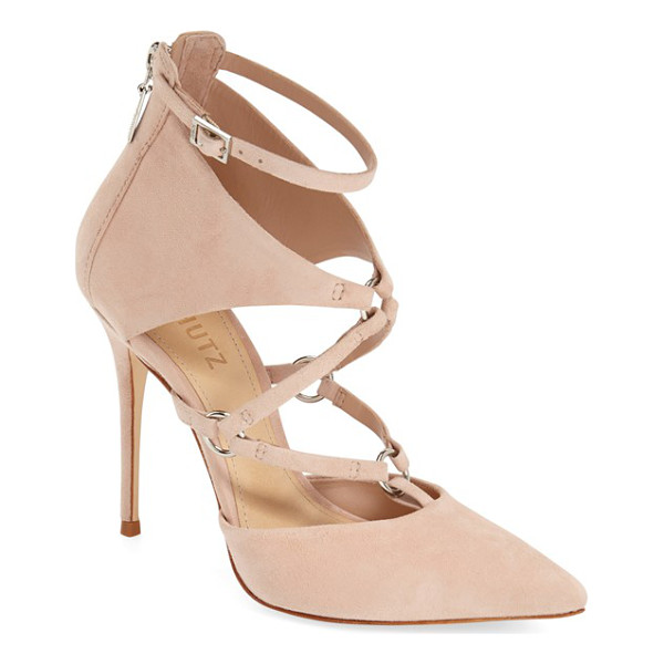 SCHUTZ dezi pointy toe pump - Polished silvertone rings anchor the slender straps of a...