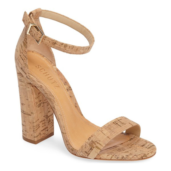 SCHUTZ enida sandal - A chunky covered heel defines a sky-high sandal crafted...