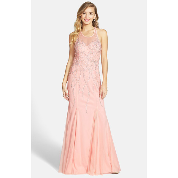 SEAN COLLECTION beaded illusion gown - Twinkling constellations of beads ice the sheer mesh...