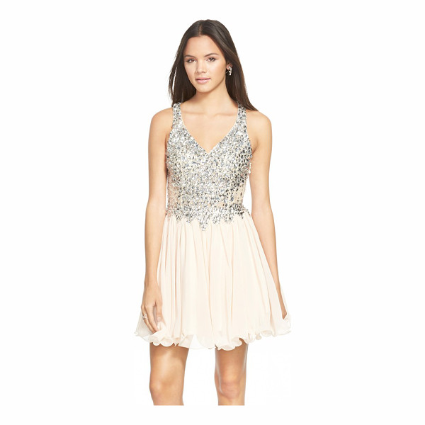 SEAN COLLECTION embellished chiffon fit & flare dress - Bright mirror-backed crystals encrust the tailored lace...