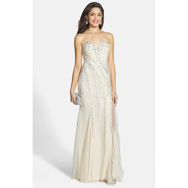 SEAN COLLECTION embellished strapless gown - A medley of glittering sequins and iridescent beads ices...