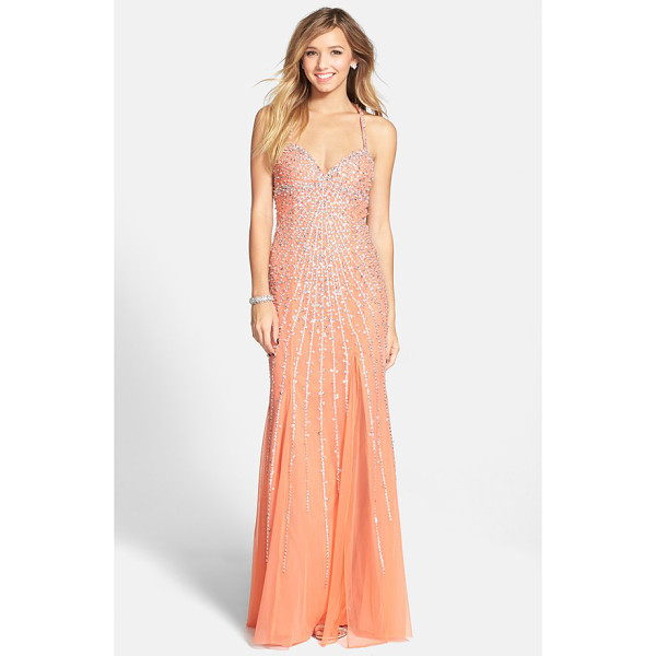 SEAN COLLECTION sequin sweetheart mesh gown - Streaming sequins burst from the sweetheart neckline and...