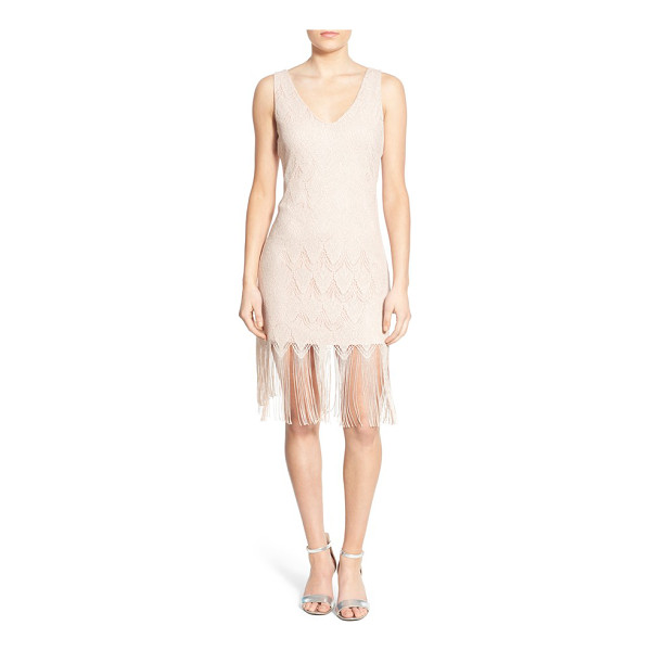 SECRET CHARM lace fringe sheath dress - A delicate lace overlay adds feminine glamour to a...