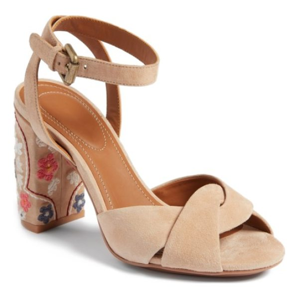 SEE BY CHLOE gayla embroidered block heel sandal - Colorful flower embroidery blossoms on the wrapped block...