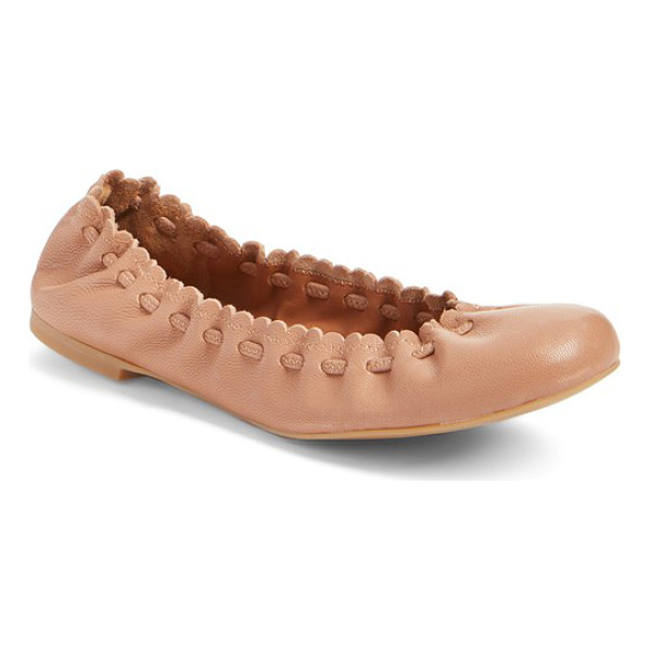 SEE BY CHLOE 'jane' ballerina flat - A tonal drawstring cinches the scalloped topline of a...