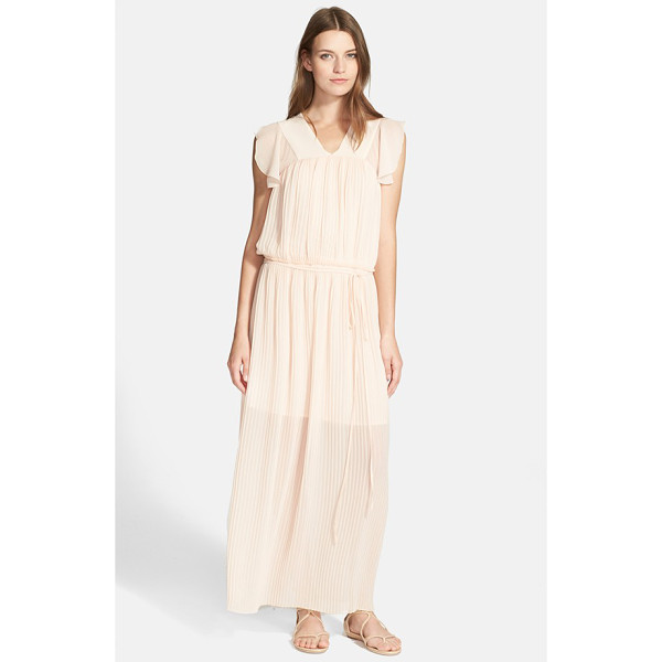 SEE BY CHLOE pleated chiffon maxi dress - Delicately pleated chiffon in a pastel blush hue lends soft...