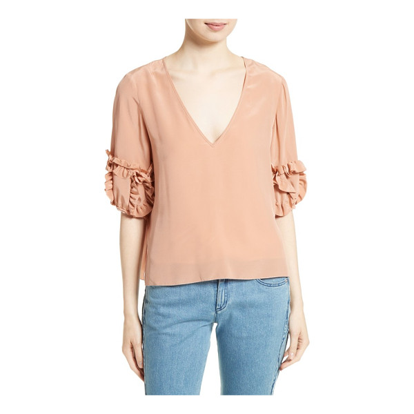 SEE BY CHLOE ruffle sleeve silk top - Ruffled tufts add whimsical volume to the elbow-length...