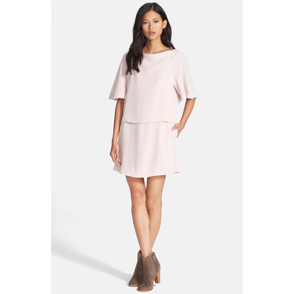 SEE BY CHLOE sanded crepe popover dress - A popover bodice gives a two-piece look to this dreamy...