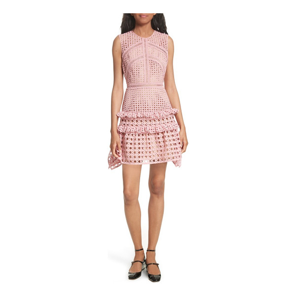 SELF-PORTRAIT crosshatch frill minidress - Delicate ladder-stitched insets frame the fitted bodice and...