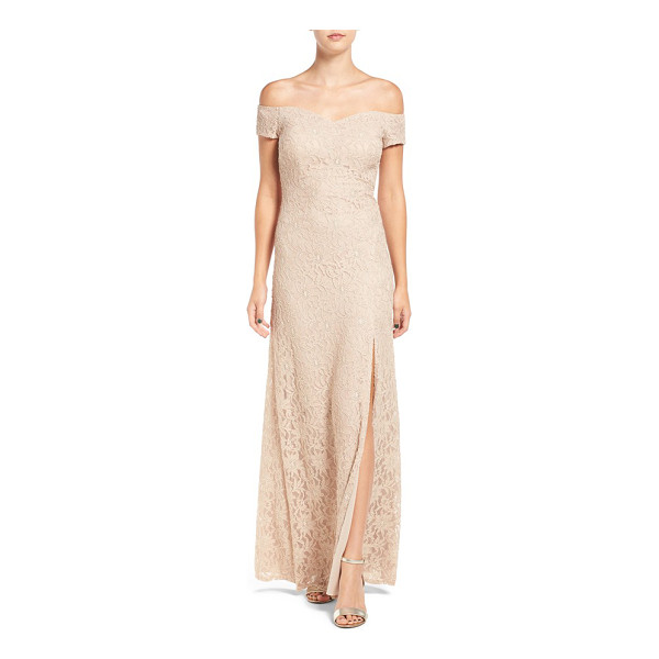 SEQUIN HEARTS off the shoulder lace gown - Elegant and understated, the lacy gown is cut with a...