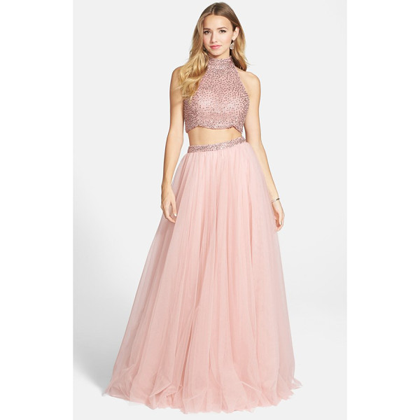SHERRI HILL embellished crop tank & chiffon skirt - Fit for a modern-day fairy-tale, this twosome reinvents the...